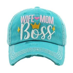 """Wife Mom Boss"" Washed Vintage Style Ball Cap"